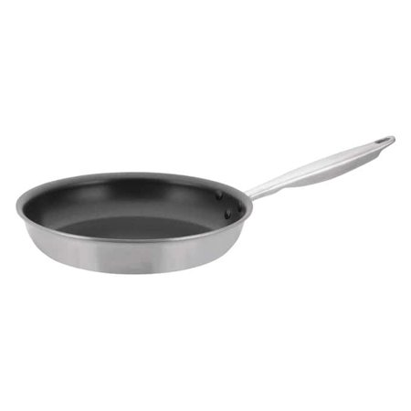 Winco TGFP-10NS, 10-Inch Dia Tri-Ply Stainless Steel Fry Pan w/? Lid, Non Stick, - Dia Non Stick Coating