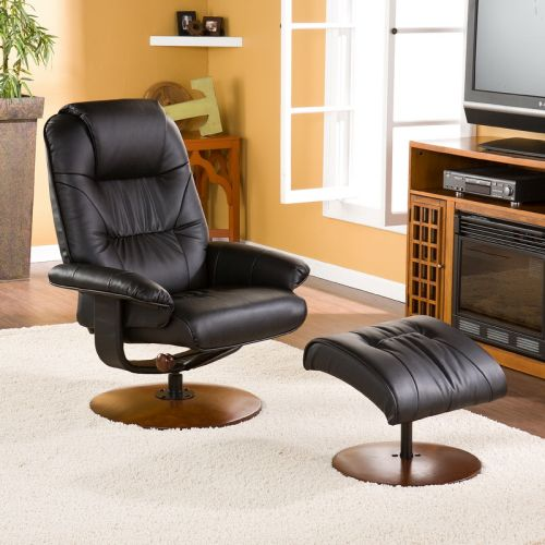 Black Leather Recliner and Ottoman