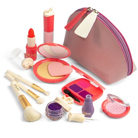 Litti Pritti Pretend makeup for girls -11 Piece Play makeup set- Realistic Toys makeup set for girls -pretend play makeup for toddler -little girl gifts