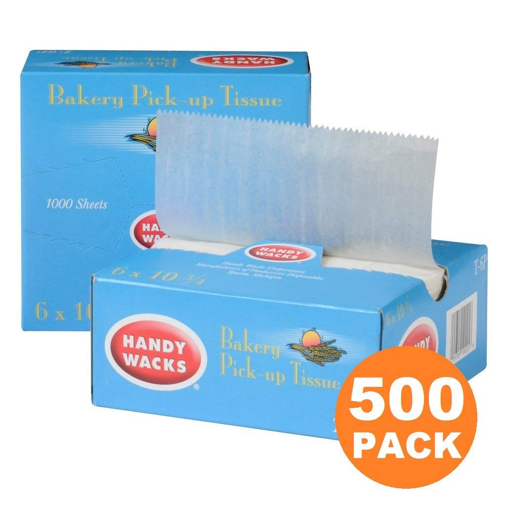 500 Interfolded Food and Deli Dry Wrap Wax Paper Sheets with Dispenser Box, Bakery Pick Up Tissues, 6 x 10.75 Inch [500 Pack]