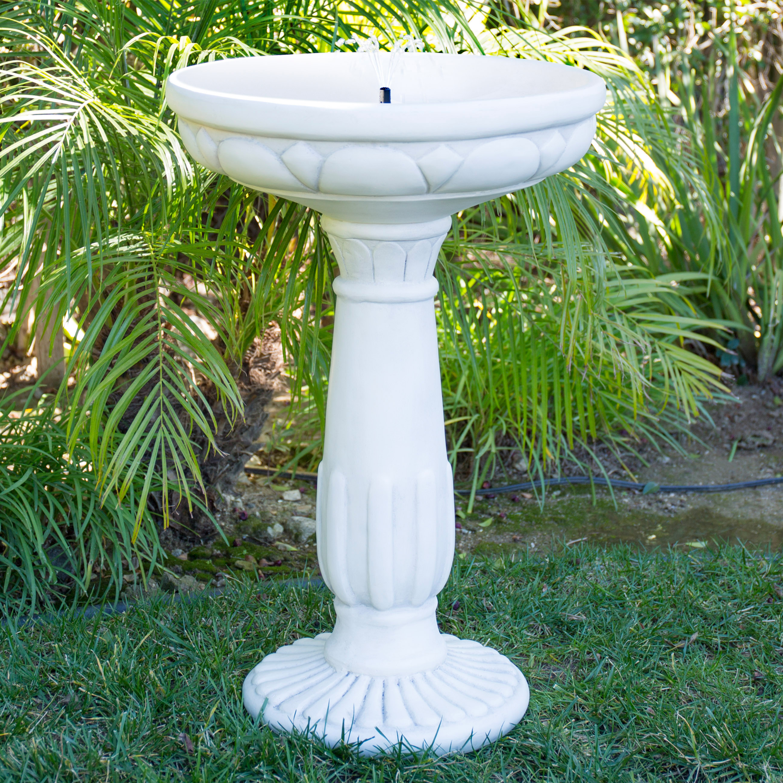 best choice products solar bird bath fountain with led lights and integrated solar panel