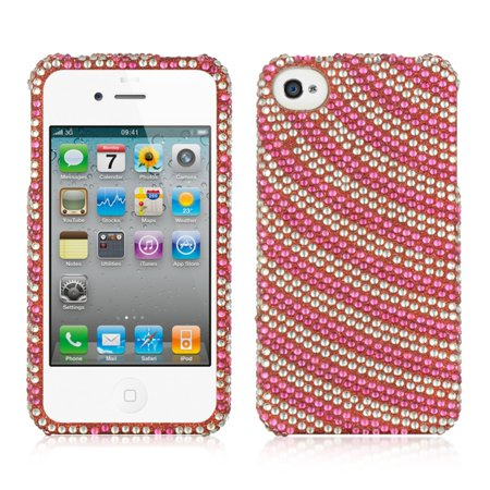 DreamWireless Rainbow Swirl Rhinestone Diamond Bling Hard Snap-in Case Cover For Apple iPhone 4/4S, Hot Pink Hot Pink Rhinestones Snap