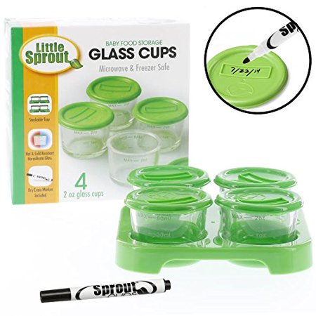 Glass Baby Food Jars (4 - 2oz) - Microwavable, Freezer and Dishwasher Safe with Tray and Recordable Marker Dishwasher Safe Platinum Platter
