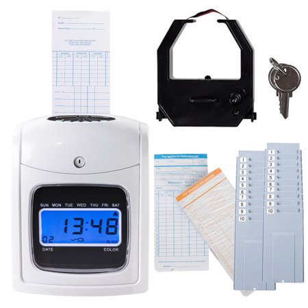 Electronic Punch Clock - Costway Electronic Recorder Time Punch Clock LCD Display w Cards Holders Office Supplier