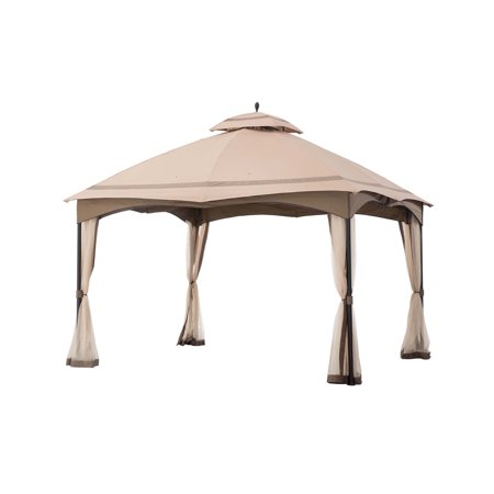 Sunjoy 12' x 10' Cabin-style Soft Top Gazebo Canopy with Netting, Outdoor Patio Shade in Khaki/Brown