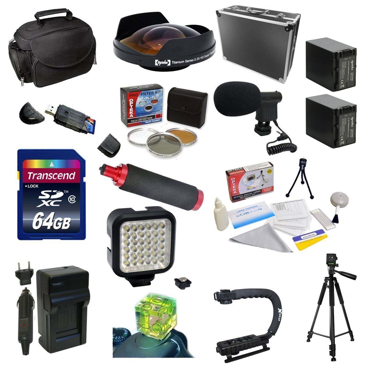 Special Edition Kit For Sony HDR-PJ650V, 64GB Memory Card, 5 Piece Filter Kit, 0.3X Ultra Fisheye Lens, 2 NP-FV100 Battery Packs, Charger, X-GRIP, HG-1 Handgrip, LED Light, Mini-Shotgun Mic and More
