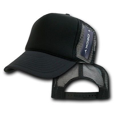 Solid Black Classic Mesh Blank Foam Snapback Trucker Vintage Baseball Hat  Cap cf75861994c0