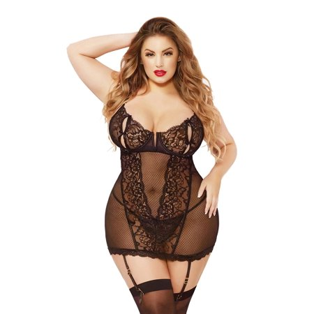 Plus Size Galloon Lace Peek a Boo Strappy Chemise Lingerie