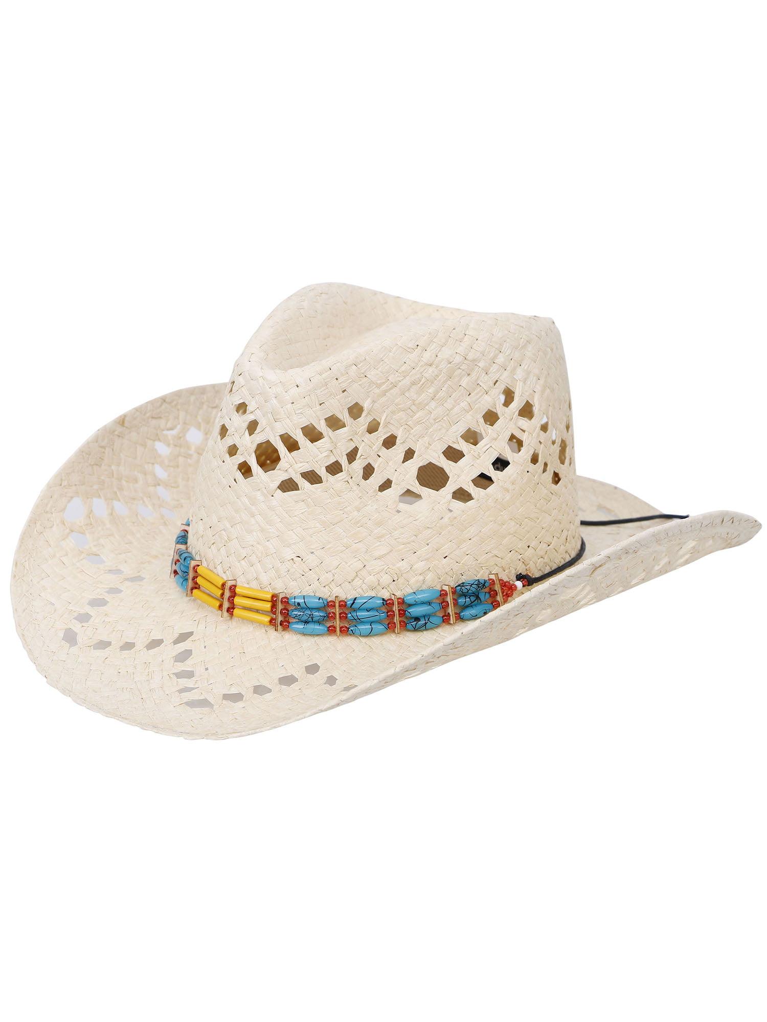 da6a068f Men's & Women's Western Style Cowboy / Cowgirl Straw Hat,Beige - Walmart.com