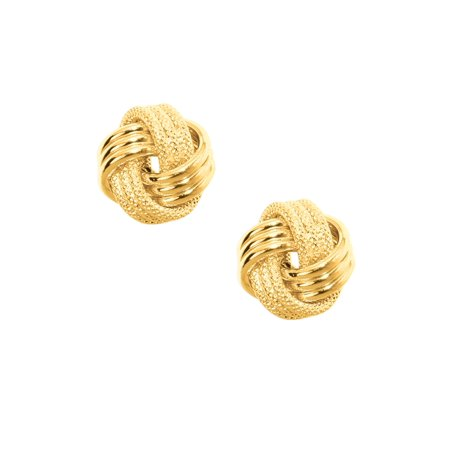 10K Yellow Gold Ladies Mesh Love Knot Stud Earrings 10mm