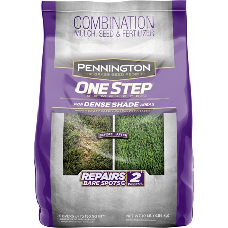 Pennington One Step Grass Seed for Dense Shade, Mulch Plus Fertilzier, 10 Pounds