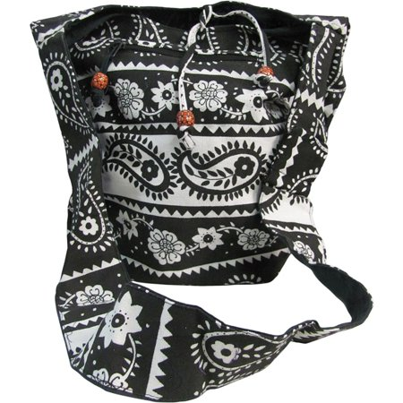 Black & White Indian Paisley Floral Cotton Crossbody Shoulder Handbag