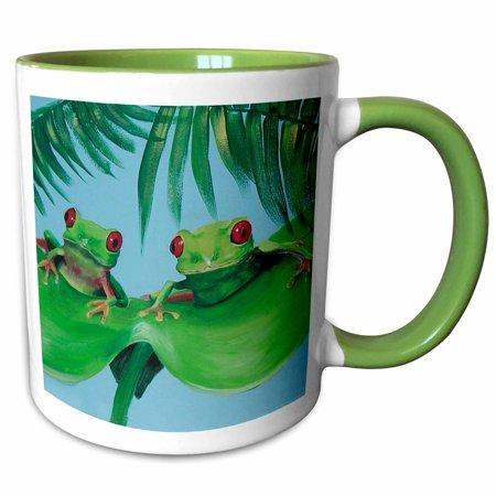 Two Tone Frog - 3dRose 2 Tree Frogs on a Big Palm Leaf - Two Tone Green Mug, 11-ounce