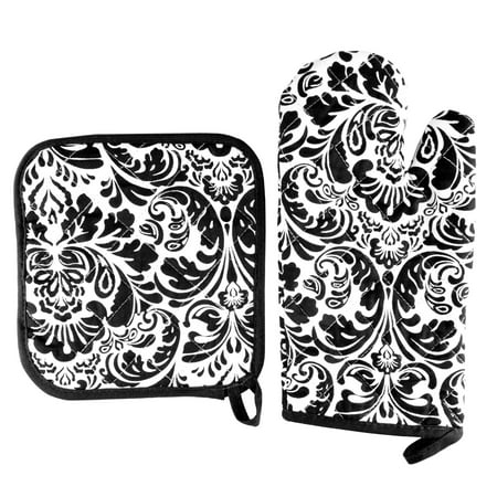 Oven Mitt And Pot Holder Set, Quilted And Flame And Heat Resistant By Somerset