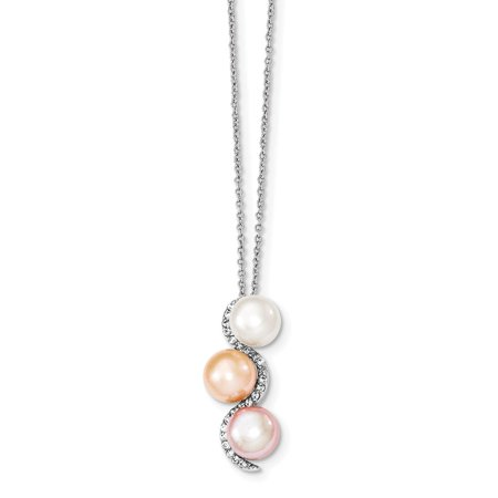 (Sterling Silver 17in 8-9mm Multi-color Freshwater Cultured Pearl and CZ Necklace)