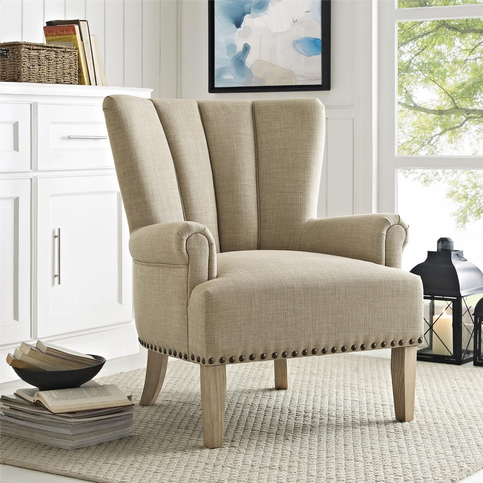 One Accent Chair Sitting Area: Better Homes & Gardens Richmond Accent Chair, Beige