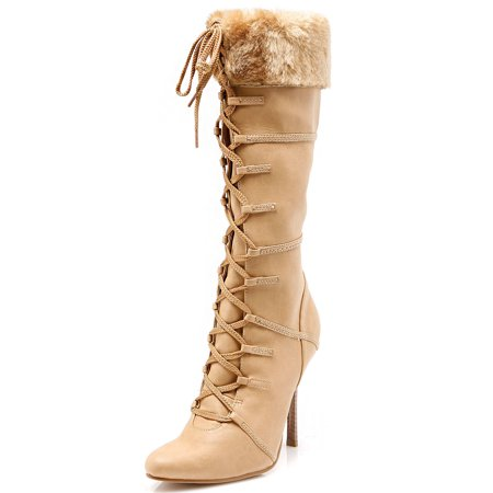 4 Women's Sexy Knee High Boots With Faux Fur Cuff High Heel Boot Brown