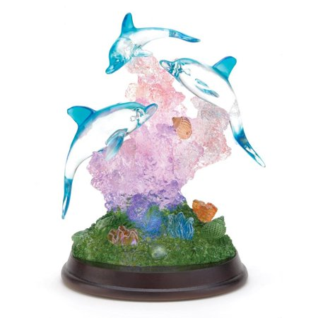 Small Dolphin Figurines, Crystal Reef Tabletop Led Christmas Dolphin (Crystal Dolphins Figurine)
