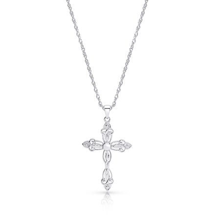 Rhodium Plated Cross Necklace Pendant