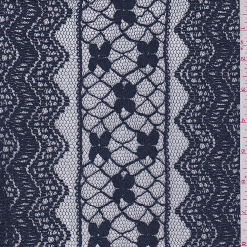 Dusk Blue Stripe Embroidered Lace, Fabric By the Yard