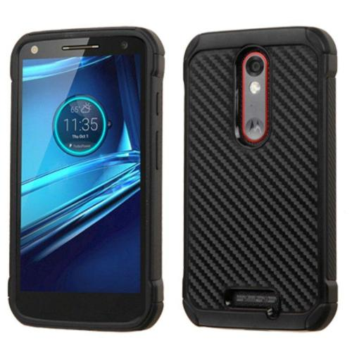 Insten Carbon Fiber Hard Hybrid Rubber Silicone Cover Case For Motorola Droid Turbo 2 - Black
