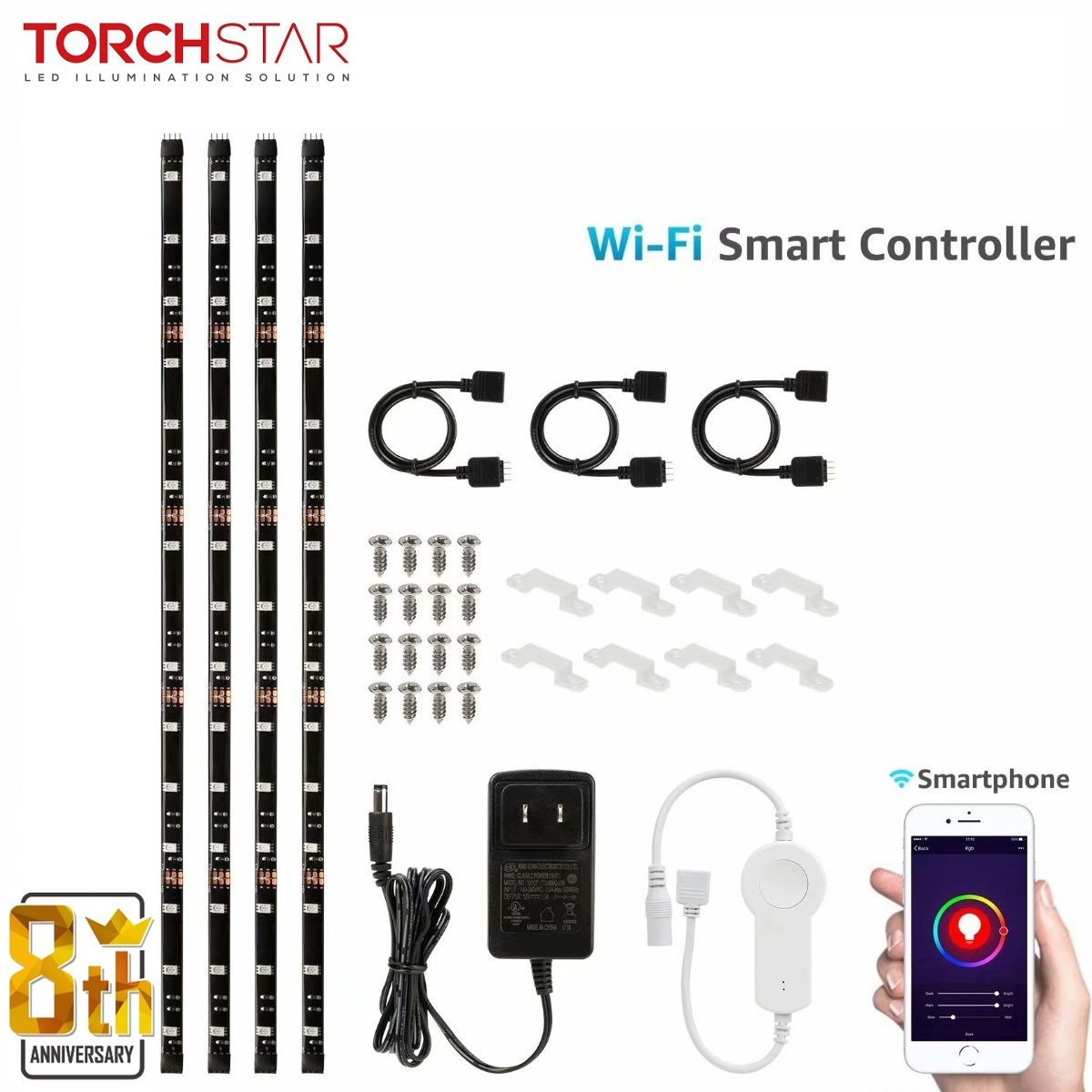 TORCHSTAR LED Dimmable TV Backlight Kit Multi-Color Strip Light, LED Lights for TV, Work with Smart Phone Control, 4pcs Waterproof Strip Lights, Flexible Strips Home Theater