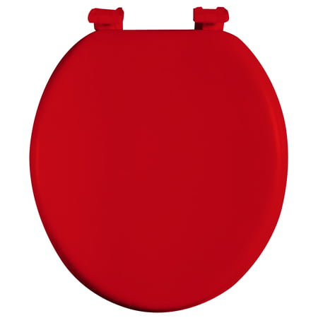 Dream Bath Soft Cushioned Round Front Toilet Seat with non-slip seat and quick-attach easy install hardware, Red