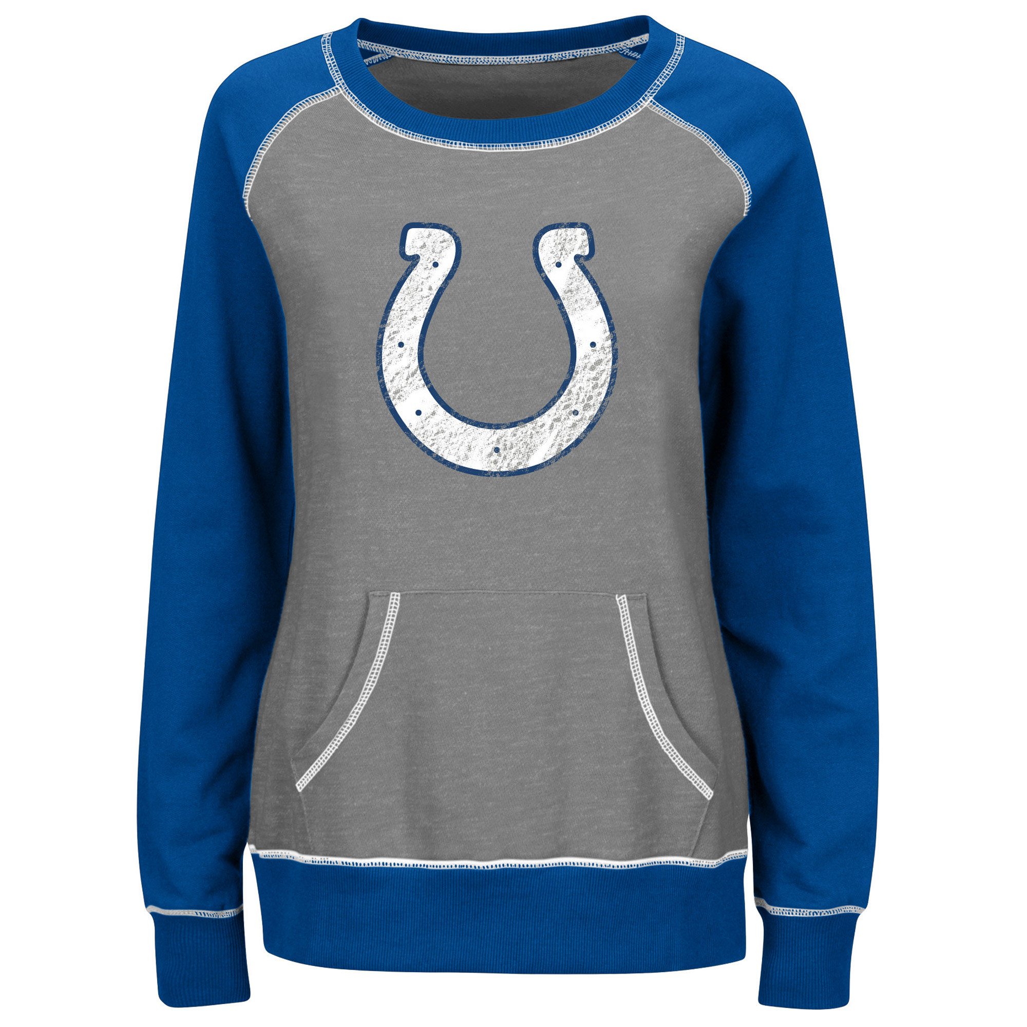 Indianapolis Colts Majestic Women's Overtime Queen Crew Neck Sweatshirt - Gray/Royal