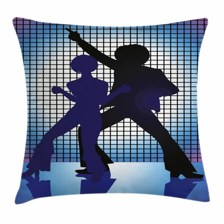 70s Party Decorations Throw Pillow Cushion Cover, Couple Silhouettes on the Dance Floor Night Life Oldies Fun, Decorative Square Accent Pillow Case, 18 X 18 Inches, Blue Purple Black, by Ambesonne