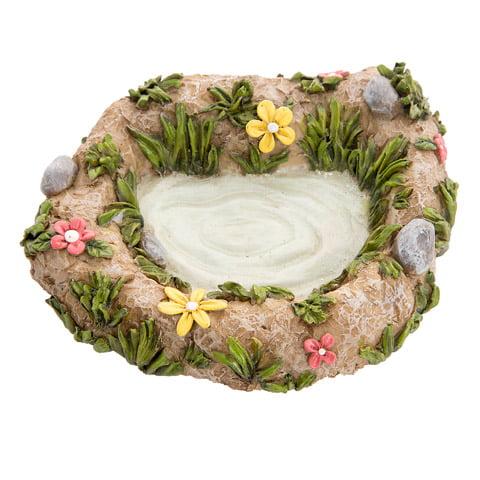 Darice Fairy Garden Accessories: Miniature Resin Pond with Flowers