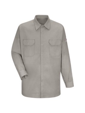 Bulwark Large Silver Grey Cotton Excel FR Flame Resistant Shirt With Snap Closure