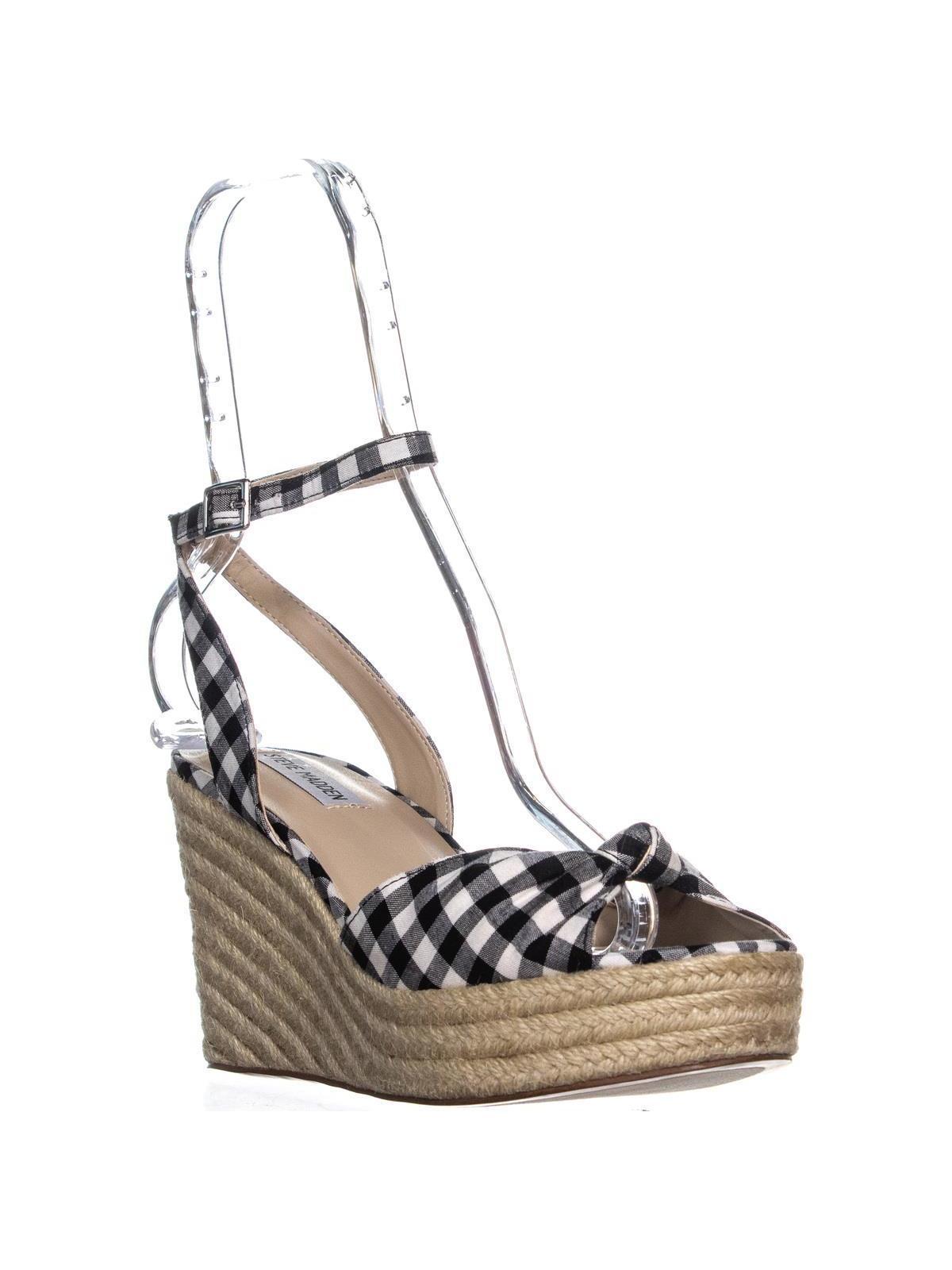 Womens Steve Madden Valinda Peep Toe Espadrilles Wedge Sandals, Black Gingham