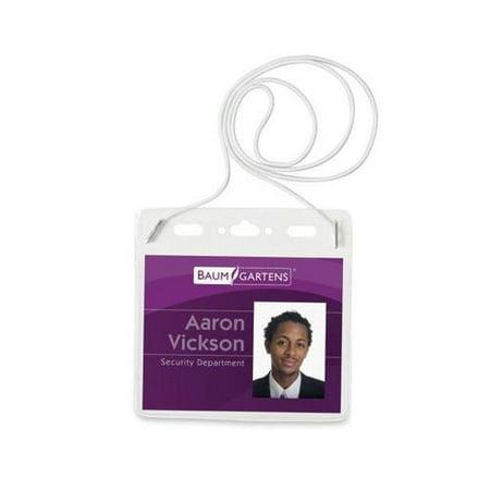 Baumgartens Plastic Badge Holder with Elastic Neckcord BAU67838 ()