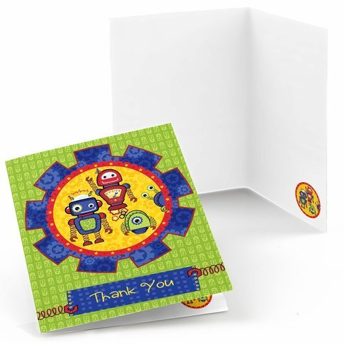 Robots - Baby Shower or Birthday Party Thank You Cards (8 count)