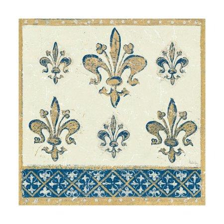 Regal Fleur de Lis Indigo and Cream Print Wall Art By Designs -