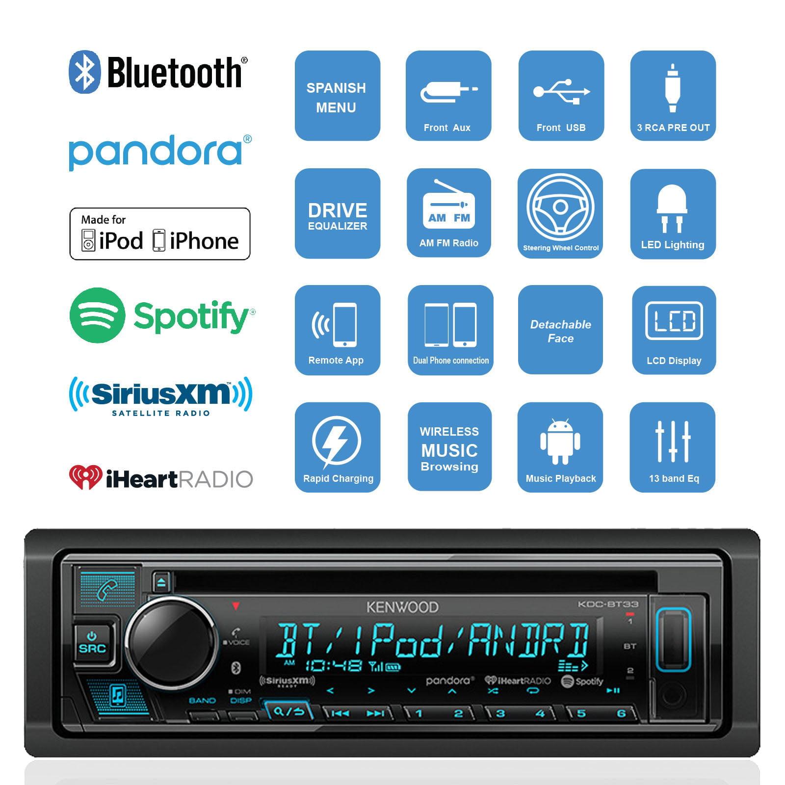 Kenwood KDC-BT33 Single-DIN In-Dash CD/Bluetooth Receiver w ...
