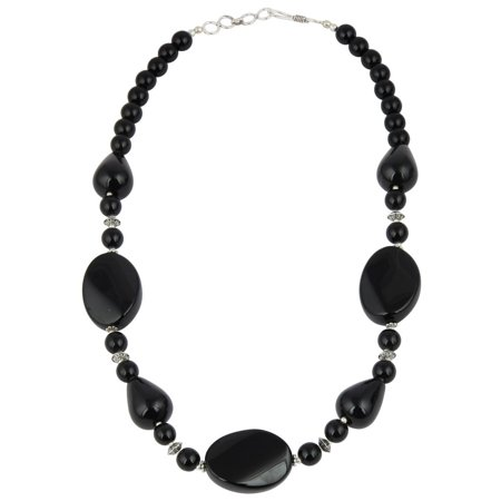 Jewel Bead Necklace (Pearlz Ocean  Alluring Black Agate Gemstone Beads 18 Inches Trendy Necklace Jewelry for Women )