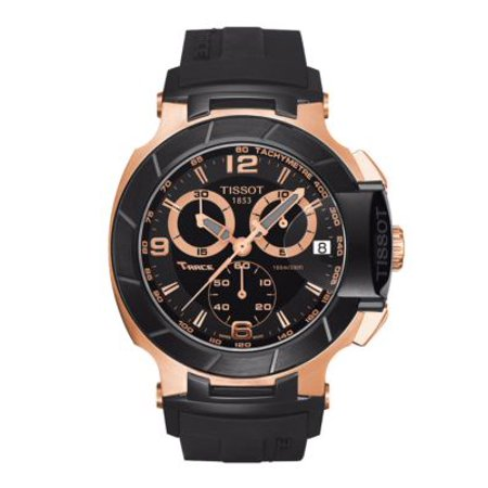 Tissot Mens T-Race Black Quartz Chronograph Rubber Strap