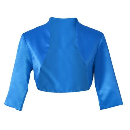 Satin 3/4 Sleeve Bolero Shrug Cardigan Top S-4XL - Blue,4XL