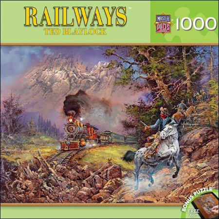 MasterPieces Railways Hold Up On #9 - Train Robbery 1000 Piece Jigsaw Puzzle by Ted Blaylock