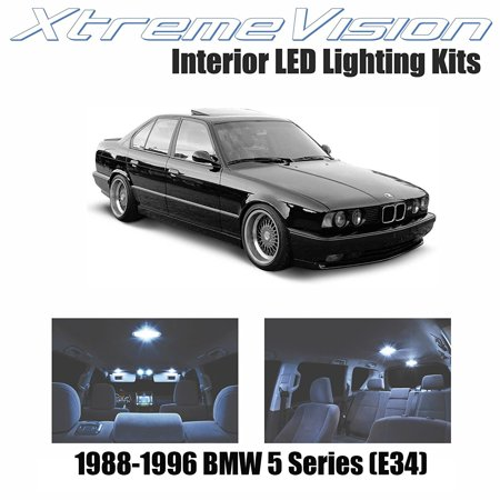 XtremeVision LED for BMW 5 Series (E34) 1988-1996 (8 Pieces) Cool White Premium Interior LED Kit Package + Installation Tool 95 Bmw E34 Led