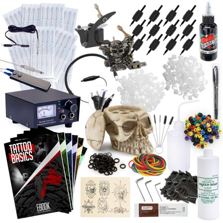 Rehab Ink Complete Tattoo Set w/ 2 Machines, Power Supply, Millennium Mom's Ink, Skull Ink Holder & More (Stealth Machine Tattoo)