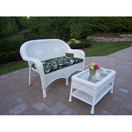 53 5 2 pc rich white outdoor wicker loveseat and coffee table set. Black Bedroom Furniture Sets. Home Design Ideas