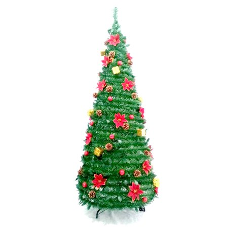 ALEKO Instant Pop Up Christmas Holiday Tree - Decorations Included - 5 Foot ()