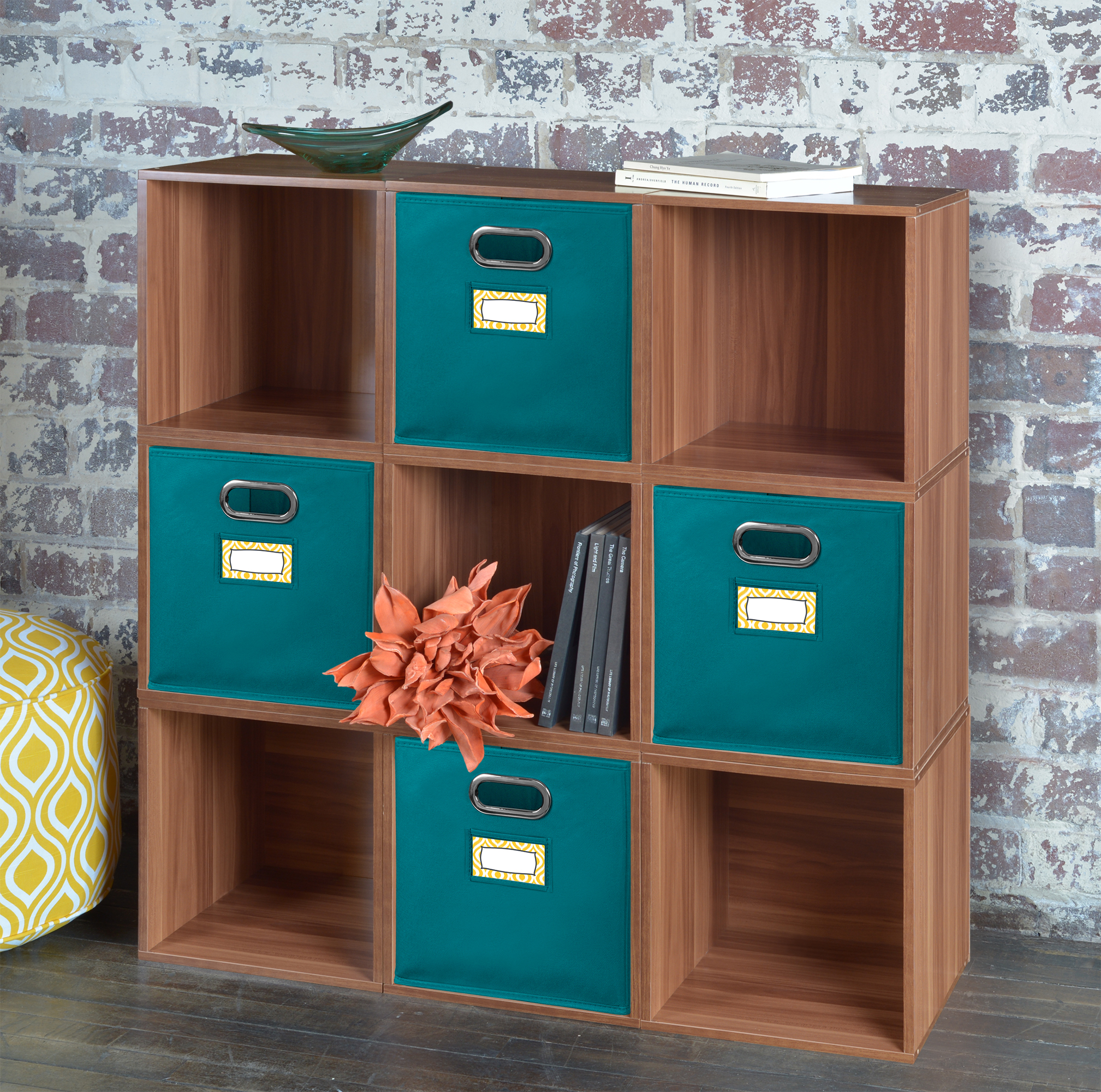 Niche Cubo Set of 4 Foldable Fabric Storage Bins- Teal