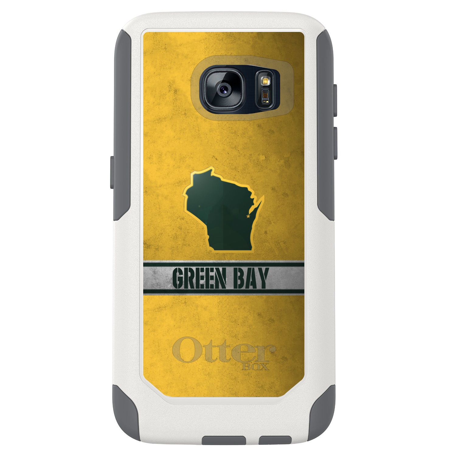 DistinctInk™ Custom White OtterBox Commuter Series Case for Samsung Galaxy S7 - Green Bay Wisconsin