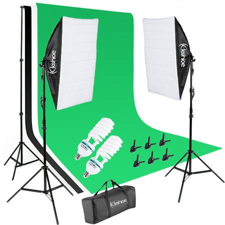 Ktaxon Kshioe Photo Photography Kit +2 Bulb 2 Softbox 3 Backdrop Set For Shutterbugs
