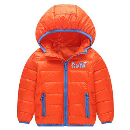 Happy Cherry Infant Boys Girls Winter Puffer Down Jacket Kids Warm Coat Thicken Hoodie Outfit Lightweight Snowsuit 3-4T Orange - image 1 of 1