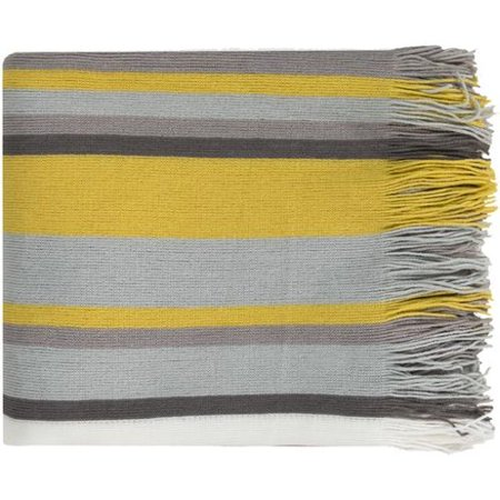 """50"""" x 60"""" Spring Delight Gray, Yellow and White Striped Frin"""