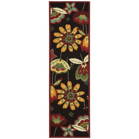 Nourison Floral Images Folk Art Runner Rug Black 2 3 Quot X8